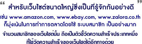 สำหรับเว็บไซต์ขนาดใหญ่ซึ่งเป็นที่รู้จักกันอย่างดี อย่างเช่น  www.amazon.com , www.ebay.com, www.zalora.co.th ก็มุ่งเน้นในการทำการตลาดโดยใช้ระบบสมาชิกเป็นอย่างมาก  ถือเป็นตัวชี้วัดประเภทหนึ่งที่ใช้วัดความสำเร็จของเว็บไซต์อีกทางหนึ่งด้วย