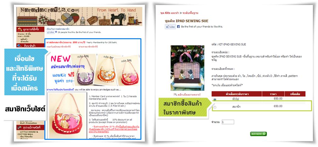 ตัวอย่างการกำหนดเงื่อนไขและสิทธิประโยชน์ที่จะได้รับเมื่อเป็นสมาชิกกับเว็บไซต์ www.naradacrafts.com